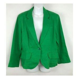 OLIVIA MOON Green 100% Linen Green One Button Jack